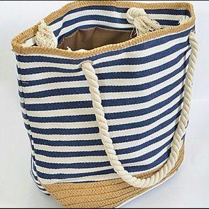 Handbags - 1 LEFT👜☀️Navy Summer Stripe Tote with Straw Trim